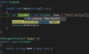 Debugging after use of the debugger display attribute.