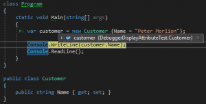 Debugging before use of the debugger display attribute.